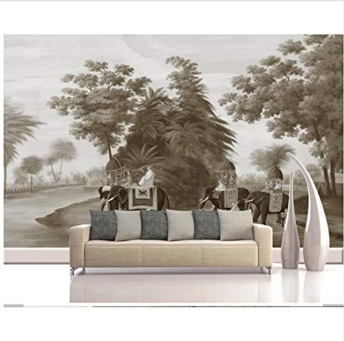 YFXGSTLI Fototapete Wandgemälde 3D Vintage Hand Malerei Wald Elefant Ansicht Tapete Kunst Wandtattoo Hd Foto Tapeten Roll Tapeten