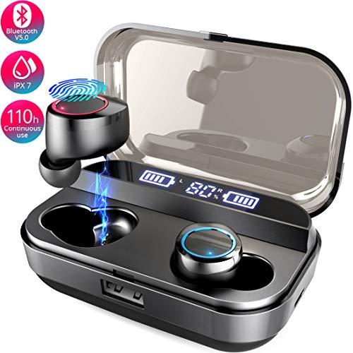 Mailiya Bluetooth Kopfhörer, Kabellos Bluetooth 5.0 Kopfhörer in Ear Ohrhörer mit 4000mAh Ladebox/110H Spielzeit/HD Stereo Sound/Noise Cancelling/IPX7 Wasserdichtes/Eingebautes Mikrofon