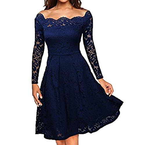 (OVERDOSE Damen Frauen Vintage Schulterfrei Spitze Formale Rockabilly Abend Party Kleid Langarm Kleider (A-Blau,EU-40/CN-M))