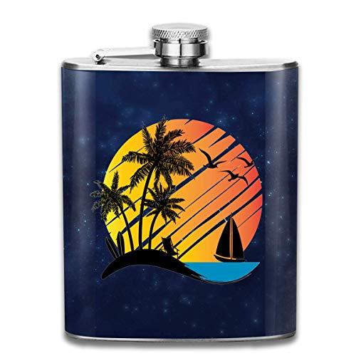 Sonnenuntergang mit Kokospalmen Flachmann Taschenflasche aus Edelstahl, 7 Unzen