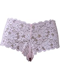 Pink Lace Boxer Briefs See Through Soft Lace small medium large and XLarge