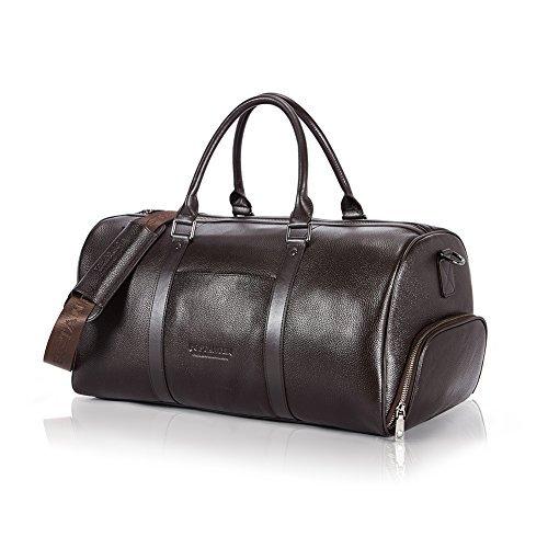 BOSTANTEN Herren echt Ledertasche XL Reisetasche Weekendertasche Handgepäck Umhängetasche Wochenende Sporttasche Freizeittasche Groß