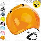 Visiere Bulle Bubble Moto Casque Jet ou Intégral 3 Boutons Universel Custom Mécanisme Coupe-Vent Inclus Pour Harley Biltwell Bell Dmd Bandit Afx Nolan Agv Origine ( Orange )