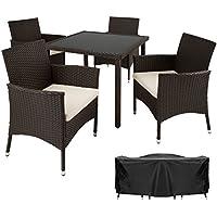 TecTake Poly Ratán Muebles de jardín Conjunto para jardín 4+1 | Tornillos de acero inoxidable incluidos | marrón
