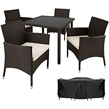 Amazon.de: Deuba® Poly Rattan Sitzgruppe 4+1 Schwarz | 4