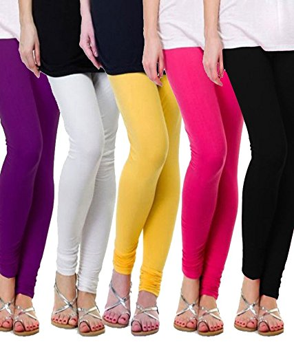 M.G.R Women\'s Cotton Lycra Churidar Leggings Combo (Pack of 5 Pink ,Blue ,White ,Yellow ,Black) - Free Size