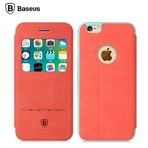 BASEUS Terse Jeune flip View Case Fentre Housse de protection Support pour Apple iPhone 6 Plus 6S Plus 5.5 jaune