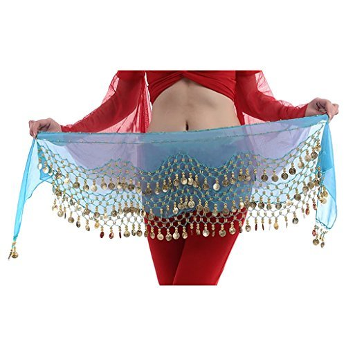 Hee Grand 3Filas Danza del Vientre Baile Hip Bufanda Falda cinturón con 128Monedas, Todo el año...