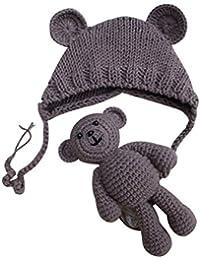 Yeahibaby Accesorios de fotografía recién nacidos Sombrero de punto lindo Gorro de fotografía de niñas con osito de ganchillo (lago azul)