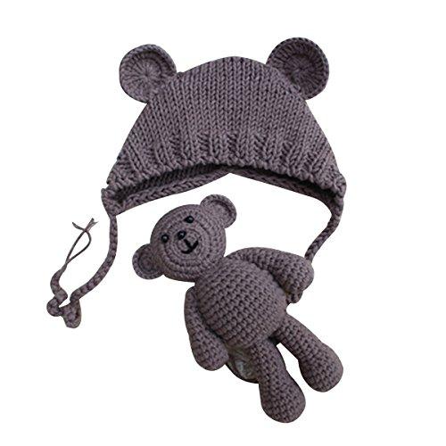 YeahiBaby Accesorios de fotografía de bebé Recién nacido Sombrero de oso de...