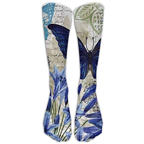 HTHYTJC Long Blue Floral Socks Women's Winter Vintage Cotton Wool Knit Long Crew Socks (Kleid Long Floral Knit)