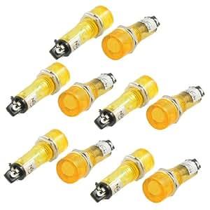 Sourcingmap Lot de 10 pièces en plastique Jaune Lampe Voyant indicateur de Signal entrée AC 220 V