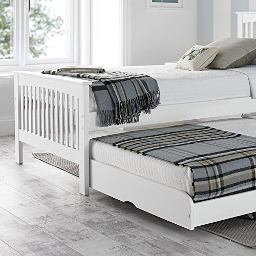Happy Beds Amelia White Wooden Guest Bed and Trundle with 2 Memory Foam Mattresses - 3FT Single