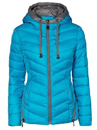 DAMEN WINTER JACKE KURZ STEPP DAUNEN OPTIK KAPUZE KRAGEN SKIJACKE ZIPPER