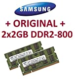 4GB Dual Channel Kit Samsung original 2 x 2 GB 200 pin DDR2-800 (PC2-6400) 128Mx8x16 double side (2x M470T5663QZ3-CF7) für NOTEBOOK s