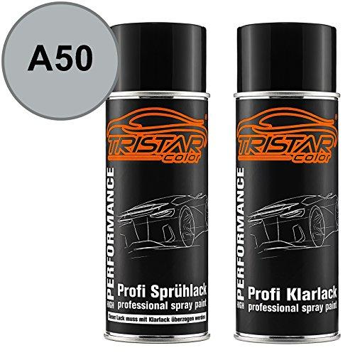 TRISTARcolor Autolack Spraydosen Set für Mitsubishi A50 HAAG Silver Metallic/HAAG Silber Metallic Basislack Klarlack Sprühdose 400ml