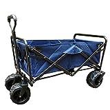 Faltbarer Bollerwagen Handwagen Tragbar Strand Schubkarre Skalierbar Stahlrahmen Oxford-Stoff Für Den Garten, 4 Farben (Farbe : Cyan, größe : 100x50x55cm)