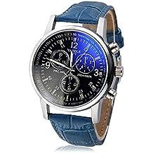 Amsion Marea lujo Blue Ray cuero de imitación de cuarzo analógico reloj de las hombre (azul)