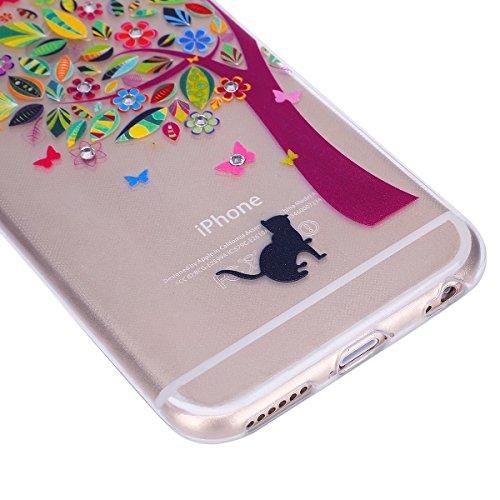 EUWLY Custodia per iPhone 7 Plus/iPhone 8 Plus (5.5), EUWLY Ragazza Romantica Bello con Bling Glitter Cristallo Diamante Design TPU Gel Silicone Custodia Antigraffio Cover Antiurto Protettivo Shell C Gatto albero