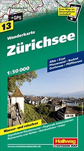 Wanderkarte Zürichsee 1 : 50 000 (Hallwag Wanderkarten)