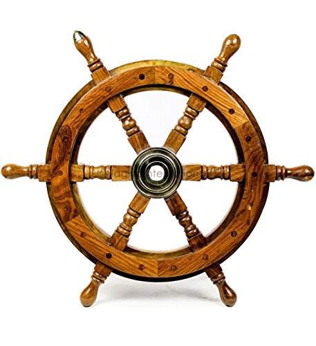 crafted Premium Nautical Ship Wheels With A Northern Brass Cap | Home Wall Decor Sculpture Accent | Nagina International (30 Inches, Rosewood) ()