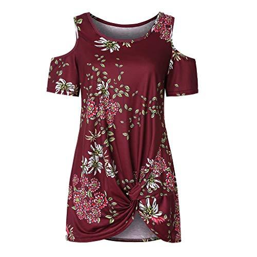 Trägerlose Schulter Casaul T Shirt Dress Sommer Mode Rundhalsausschnitt Bluse(rot,S) ()