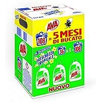 Ava Detersivo Lavatrice Liquido, Freschezza Tropicale, 108 Lavaggi, Pacco da 3 Pezzi