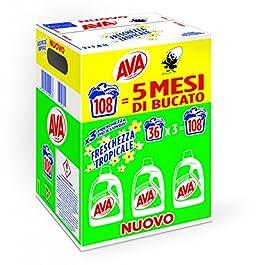 AVA Detersivo Lavatrice Liquido, Freschezza Tropicale, 108 Lavaggi