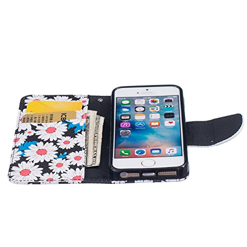 iPhone SE Hülle,iPhone 5S Hülle,iPhone SE/5S/5 Ledertasche Brieftasche im BookStyle,SainCat PU Leder Wallet Case Folio Schutzhülle Gemalt Muster [New York] Hülle Bumper Handytasche Skin Schale Soft Ba Chrysantheme