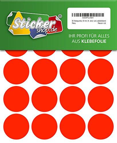 80 Klebepunkte, 40 mm, Markierungspunkte, Punkt, PVC, Vinyl, Folie, Neon, rot, leuchtend, rund, selbstklebend (Kreis Rot Leuchtet)
