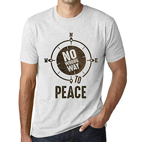 Herren Tee Männer Vintage T shirt No Wrong Way PEACE Weiß Gesprenkelt