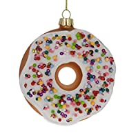 BESTPYSANKY Doughnut Blown Glass Christmas Ornament 3.8 Inches