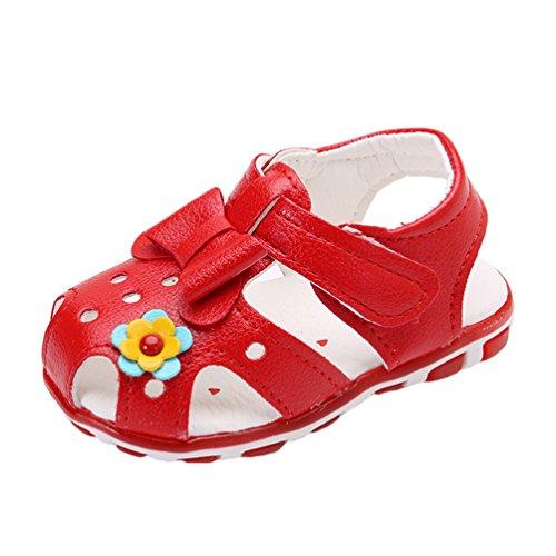 YiLianDa Fille D'été Sandales de Marche Enfant Bout Fermé Respirantes Chaussures Semelle Souple Rouge