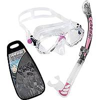 Cressi Marea Dry Gafas y tubo de snorkel Unisex Adulto, Rosa, Talla Única
