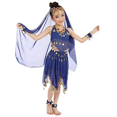 Amphia - Mädchen tanzen Bauchtanz-Anzüge (ohne Schleier und Accessoires) - Handgemachte Kinder Mädchen Bauchtanz Kostüme Kinder Bauchtanz Ägypten Tanz Tuch