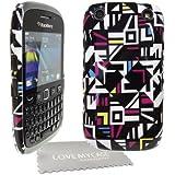 StyleBitz / Coque rigide pour BlackBerry 9320 / 9220 Curve, motif géométrique + protection d'écran et tissu de nettoyage (multicolore)