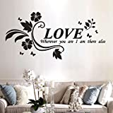 Love Wherever You Are I am There Also Removable Art Vinyl Mural Home Room Decor Wall Stickers Wall Words Art Sticker Decal, Home Mural Decor Drop Mural Wallpaper by friendGG (83cm x40cm, Black)