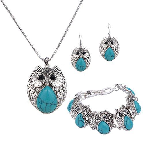Yazilind Venta caliente de la pulsera de plata del encanto azul turquesa plateado pendiente de la vendimia del collar del buho gota pendientes para las mujeres La joyería