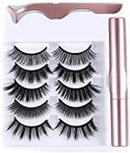 Handmade Natural Long Long-lasting Waterproof Eye Lash Extension 5 Pairs Magnetic Eyelashes Magnetic Eyeliner With 1 PcTweez