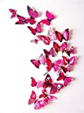 #7: Pindia Set Of 12 Pc Decorative Beautiful 3D Butterfly Removable Wall Sticker Home Wall Décor Sticker For Living Room,Bed Room,Study Room,Fridge, AC, Nursery Decoration- Pink Color (Random Design)