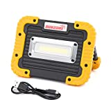 LED Work Light, SUNZONE Outdoor USB Flood Light with Rechargeable Battery for Camping Fishing and More(Yellow)