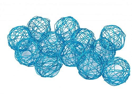 Unbekannt 12 Drahtkugeln Tischdeko Kommunion Konfirmation Bälle Blau Grün, Farbe:Blau