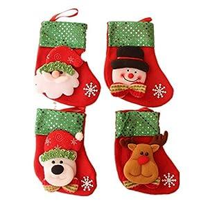 Cosanter 4pcs calzini di Natale Santa Snowman Deer Bear Design Gift calza calzini panno Decor casuale