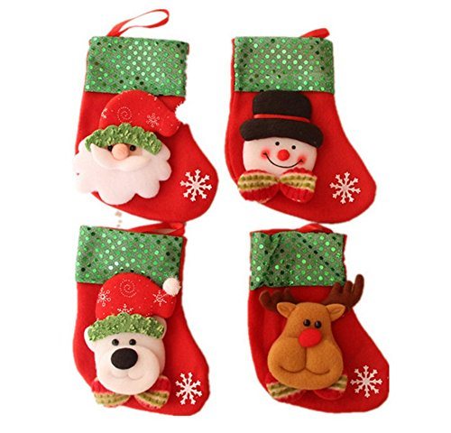 Fablcrew christmas sock classic christmas gift packing family kids office xmas fun supplies red 4pcs