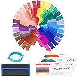 Neewer 30 Stück Farbfolien Speedlite Beleuchtungs Blitz Gele Farbfilter Set - Transparente Farbkorrektur Beleuchtung Film Kunststoffplatten mit Einem Befestigungs Band für Strobe Blitzlicht