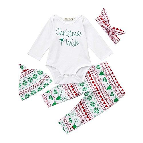 Baby Strampler-Set Longra Baby Mädchen Jungen Brief Strampler Deers Hosen 4 Stücke Set Weihnachten Outfit Baby Kleidung (70CM 3Monate, ()