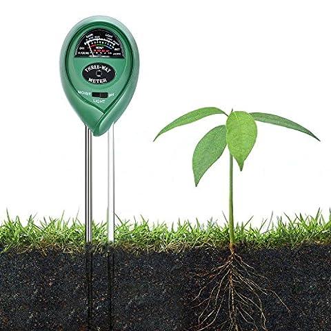 ZEDELA 3-in-1 Bodentester, digitales Bodenmessgerät für Pflanzen, Boden-pH und Feuchte, Lichtstärke Meter Pflanze Tester für Gartenbau, Pflanzen Wachstum, Rasenpflege (keine Batterie erforderlich)-002