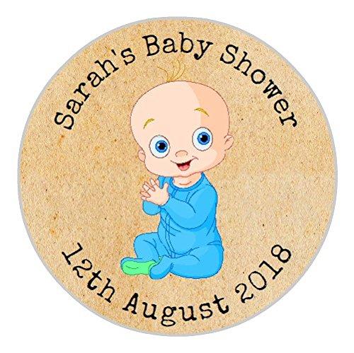 24Personalisierte Baby Dusche Vintage Shabby Chic Kraft Blue Boy Cute Baby Dusche Partei Tasche Danke Sweet Konus Aufkleber Etiketten (Personalisierte Baby-dusche-etiketten)