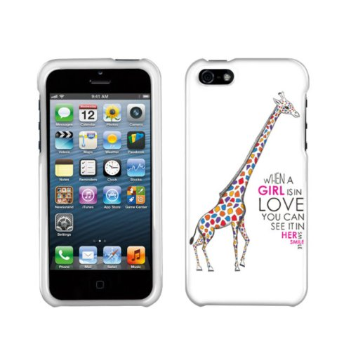 Hard Kunststoff Snap on Cover für Apple iPhone 5/5S/SE Buchse Giraffe in Love (Boost Mobile Iphone 4s)