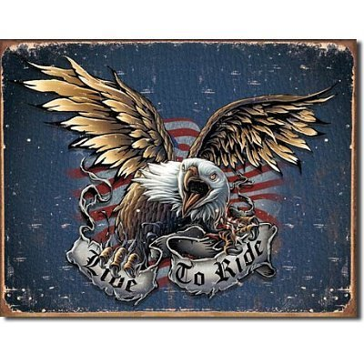 Ride Eagle (Tin Sign Live To Ride - Eagle , 16x12 by Poster Discount)